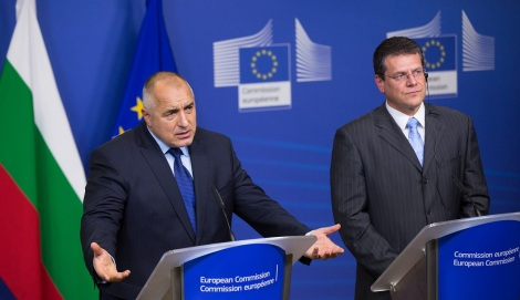 Maros Sefcovic, on the right, and Boyko Borissov
