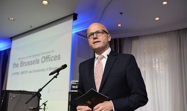 Brussel-kontoret til NTNU, SIU og UiB ble åpnet av statsråd Vidar Helgesen.
