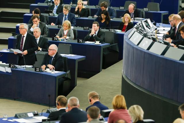 EUs arbeidsprogram for 2017 ble lagt frem av Europakommisjonens president Jean-Claude Juncker og visepresident Frans Timmermans, under Europaparlamentets plenumssesjon i Strasbourg 25. oktober. Foto: Europakommisjonen.