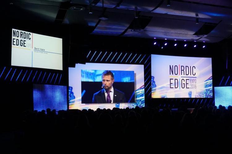 Helseminister Bent Høie var blant innlederne under Nordic Edge Expo 2017.