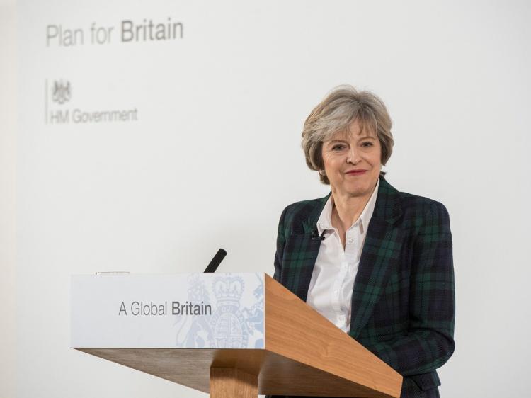 Storbritannias Brexit-strategi ble lagt frem av statsminister Theresa May under en tale i Lancaster House i London 17. januar. Foto: Number 10/Flickr.