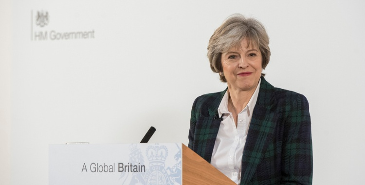 Storbritannias Brexit-strategi ble lagt frem av statsminister Theresa May under en tale i Lancaster House i London 17. januar. Foto: Number 10/Flickr.