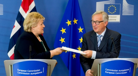 Jean-Claude Juncker, President of the EC, receives Erna Solberg, Norwegian Prime Minister and co-chair of the UN Secretary-General's Sustainable Development Goals (SDGs) Advocates